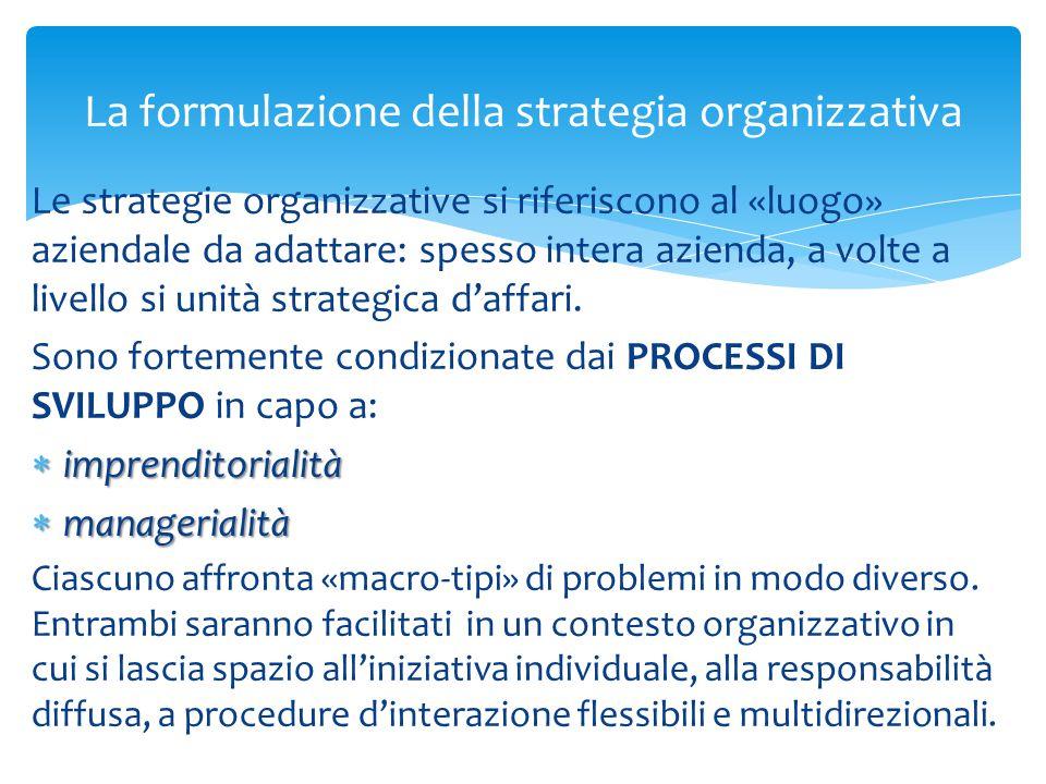 La formulazione della strategia organizzativa Le strategie organizzative si riferiscono al «luogo» aziendale da adattare: spesso intera azienda, a vol
