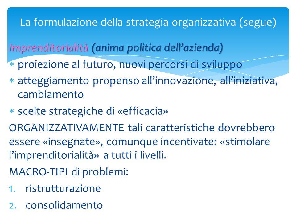 La formulazione della strategia organizzativa (segue) Imprenditorialità (anima politica dell'azienda)  proiezione al futuro, nuovi percorsi di svilup