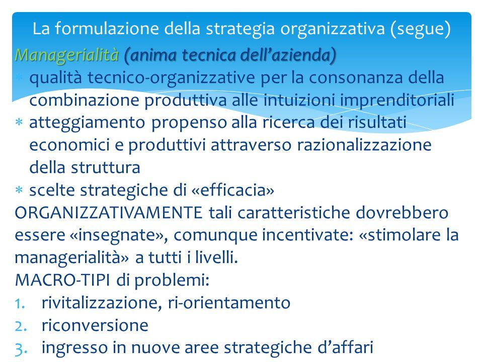 La formulazione della strategia organizzativa (segue) Managerialità (anima tecnica dell'azienda)  qualità tecnico-organizzative per la consonanza del