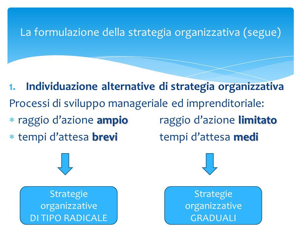 La formulazione della strategia organizzativa (segue) 1.Individuazione alternative di strategia organizzativa Processi di sviluppo manageriale ed impr