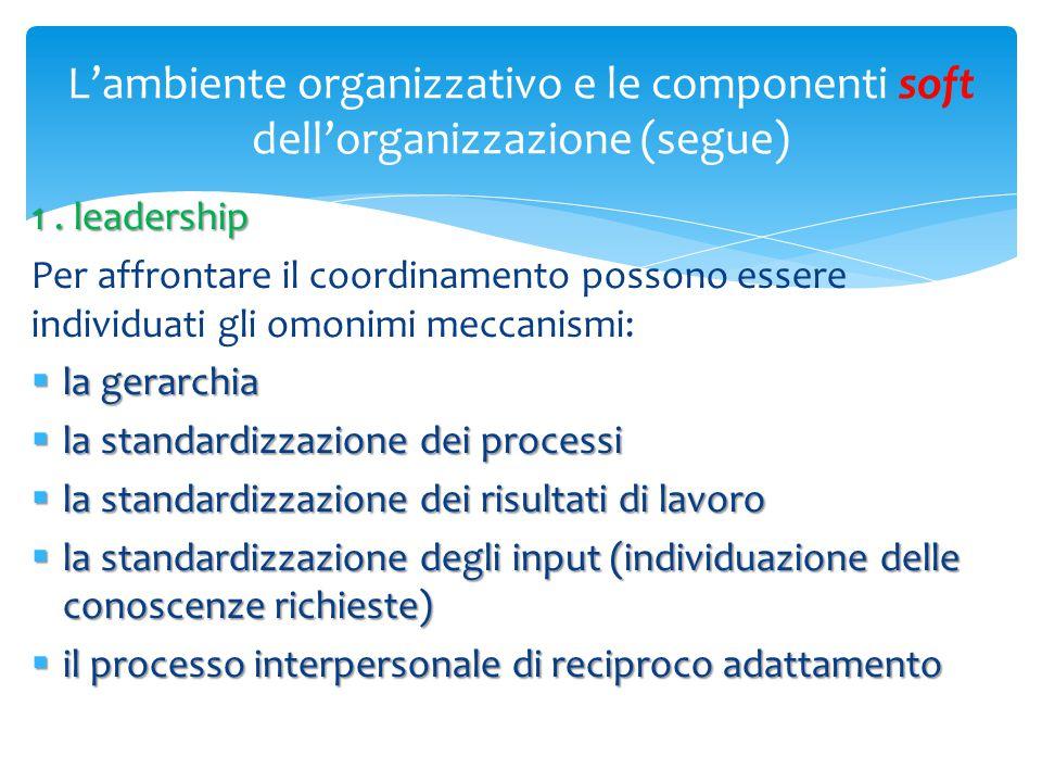 L'ambiente organizzativo e le componenti soft dell'organizzazione (segue) 1. leadership Per affrontare il coordinamento possono essere individuati gli