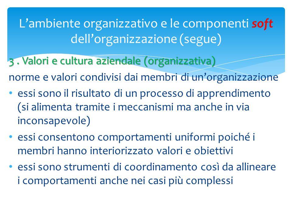 L'ambiente organizzativo e le componenti soft dell'organizzazione (segue) 3. Valori e cultura aziendale (organizzativa) norme e valori condivisi dai m