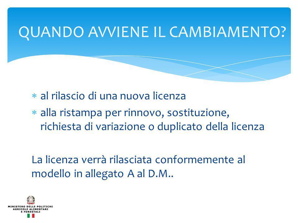  al rilascio di una nuova licenza  alla ristampa per rinnovo, sostituzione, richiesta di variazione o duplicato della licenza La licenza verrà rilasciata conformemente al modello in allegato A al D.M..