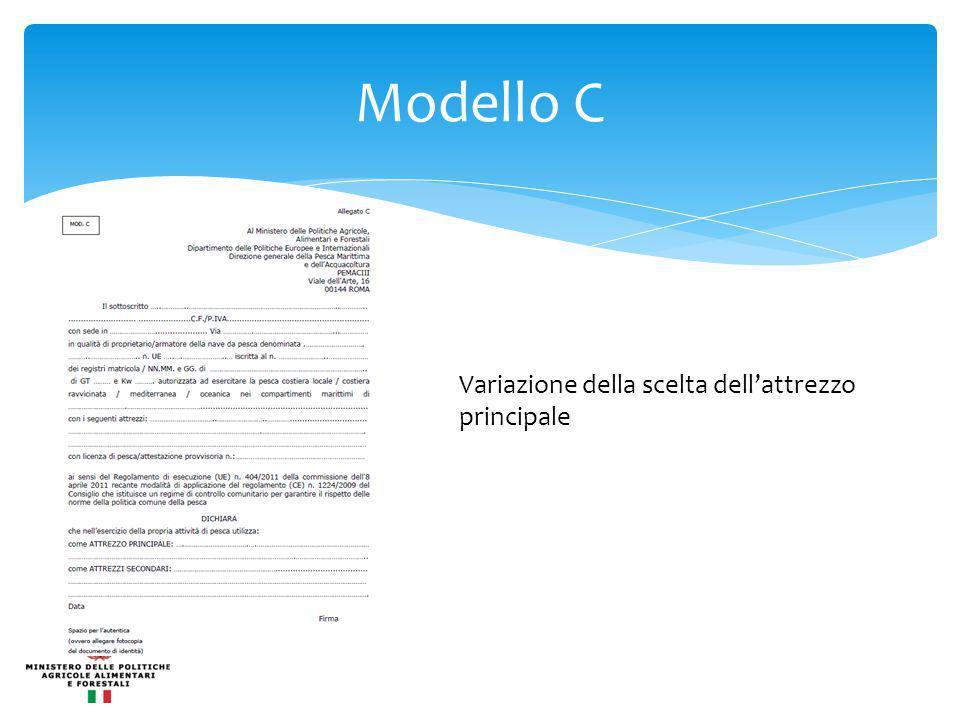 Modello C Variazione della scelta dell'attrezzo principale