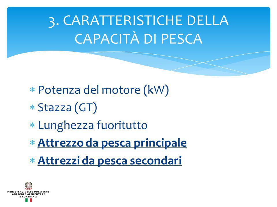  Potenza del motore (kW)  Stazza (GT)  Lunghezza fuoritutto  Attrezzo da pesca principale  Attrezzi da pesca secondari 3.