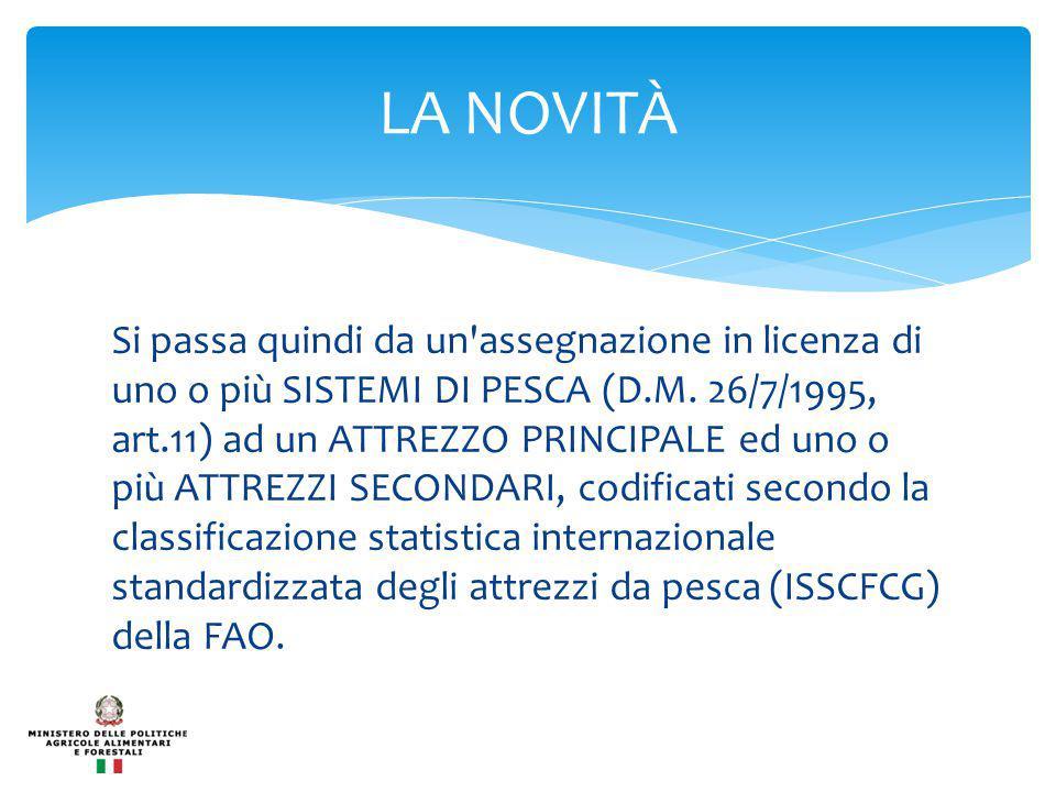 Si passa quindi da un assegnazione in licenza di uno o più SISTEMI DI PESCA (D.M.