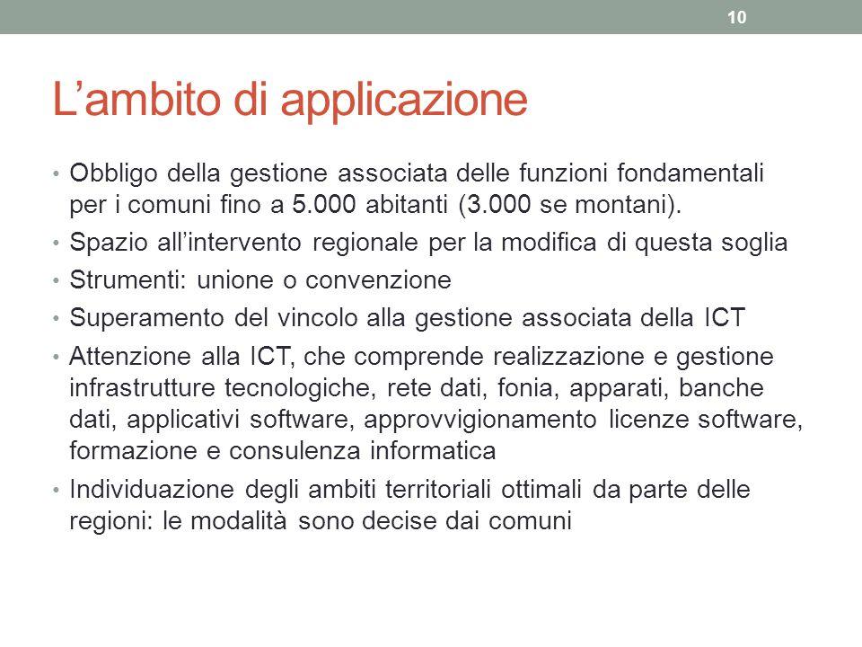 L'ambito di applicazione Obbligo della gestione associata delle funzioni fondamentali per i comuni fino a 5.000 abitanti (3.000 se montani). Spazio al