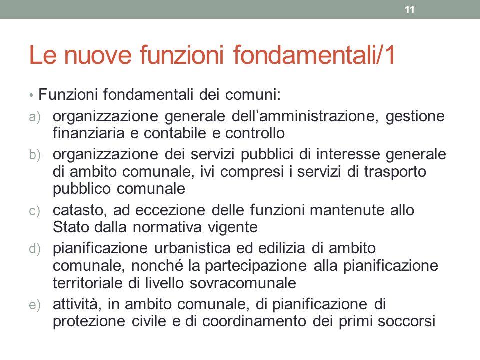 Le nuove funzioni fondamentali/1 Funzioni fondamentali dei comuni: a) organizzazione generale dell'amministrazione, gestione finanziaria e contabile e