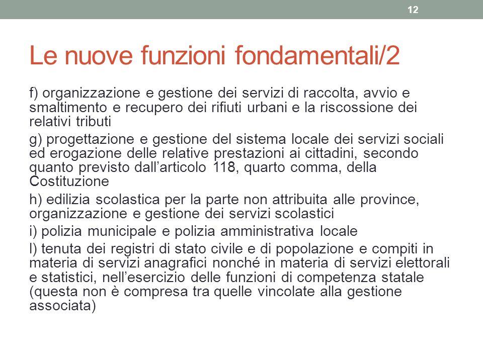 Le nuove funzioni fondamentali/2 f) organizzazione e gestione dei servizi di raccolta, avvio e smaltimento e recupero dei rifiuti urbani e la riscossi