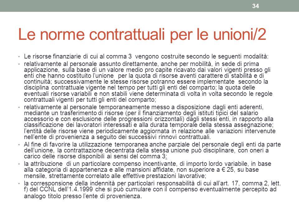 Le norme contrattuali per le unioni/2 Le risorse finanziarie di cui al comma 3 vengono costruite secondo le seguenti modalità: relativamente al person