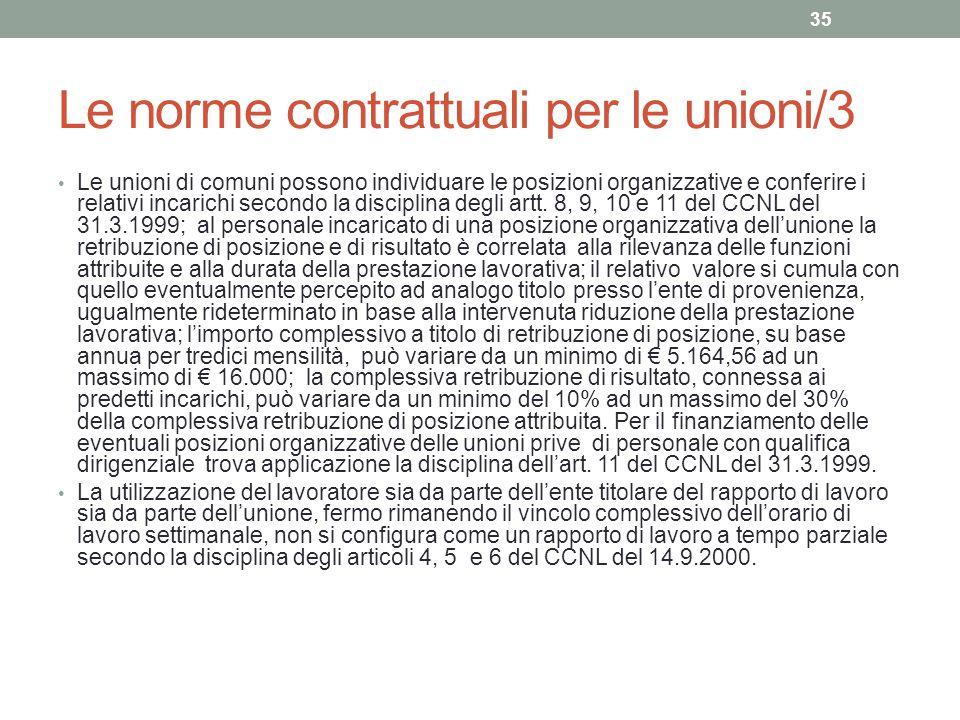 Le norme contrattuali per le unioni/3 Le unioni di comuni possono individuare le posizioni organizzative e conferire i relativi incarichi secondo la d