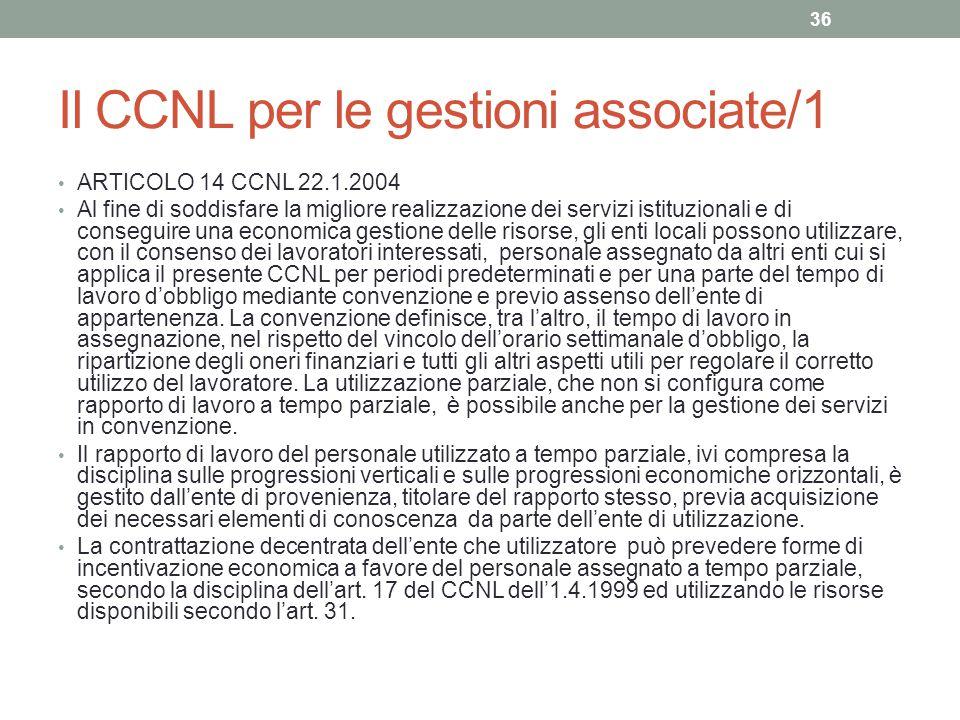 Il CCNL per le gestioni associate/1 ARTICOLO 14 CCNL 22.1.2004 Al fine di soddisfare la migliore realizzazione dei servizi istituzionali e di consegui