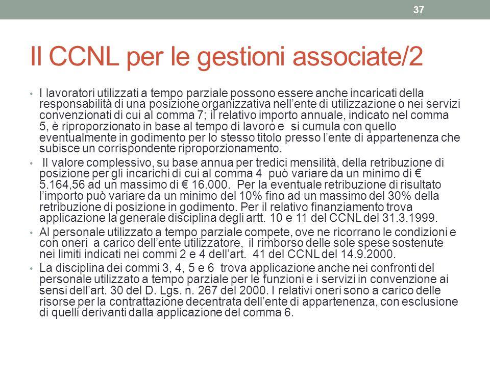 Il CCNL per le gestioni associate/2 I lavoratori utilizzati a tempo parziale possono essere anche incaricati della responsabilità di una posizione org