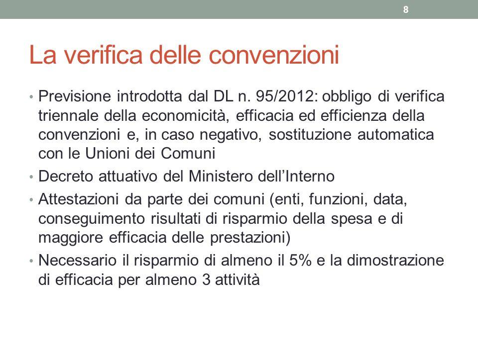 La verifica delle convenzioni Previsione introdotta dal DL n. 95/2012: obbligo di verifica triennale della economicità, efficacia ed efficienza della