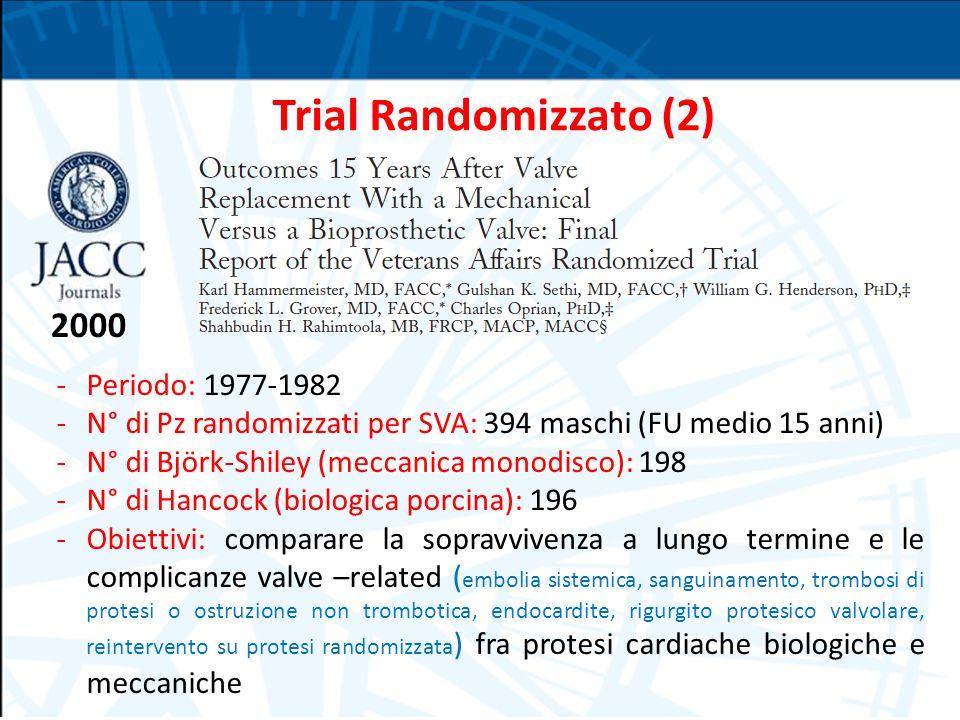 2000 Trial Randomizzato (2) -Periodo: 1977-1982 -N° di Pz randomizzati per SVA: 394 maschi (FU medio 15 anni) -N° di Björk-Shiley (meccanica monodisco): 198 -N° di Hancock (biologica porcina): 196 -Obiettivi: comparare la sopravvivenza a lungo termine e le complicanze valve –related ( embolia sistemica, sanguinamento, trombosi di protesi o ostruzione non trombotica, endocardite, rigurgito protesico valvolare, reintervento su protesi randomizzata ) fra protesi cardiache biologiche e meccaniche