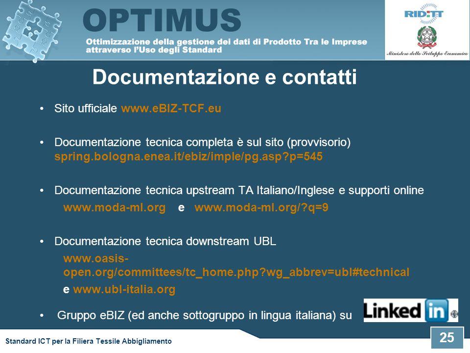Sito ufficiale www.eBIZ-TCF.eu Documentazione tecnica completa è sul sito (provvisorio) spring.bologna.enea.it/ebiz/imple/pg.asp?p=545 Documentazione