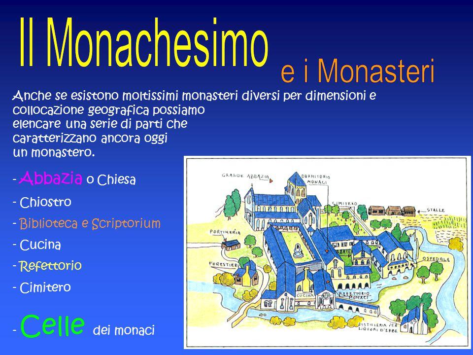 Anche se esistono moltissimi monasteri diversi per dimensioni e collocazione geografica possiamo elencare una serie di parti che caratterizzano ancora