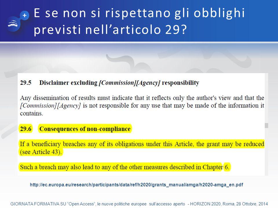 E se non si rispettano gli obblighi previsti nell'articolo 29.