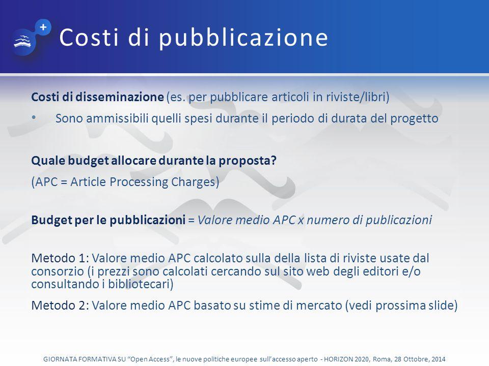 Costi di pubblicazione Costi di disseminazione (es.