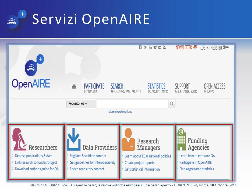 Servizi OpenAIRE GIORNATA FORMATIVA SU Open Access , le nuove politiche europee sull'accesso aperto - HORIZON 2020, Roma, 28 Ottobre, 2014