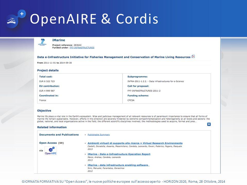 OpenAIRE & Cordis GIORNATA FORMATIVA SU Open Access , le nuove politiche europee sull'accesso aperto - HORIZON 2020, Roma, 28 Ottobre, 2014