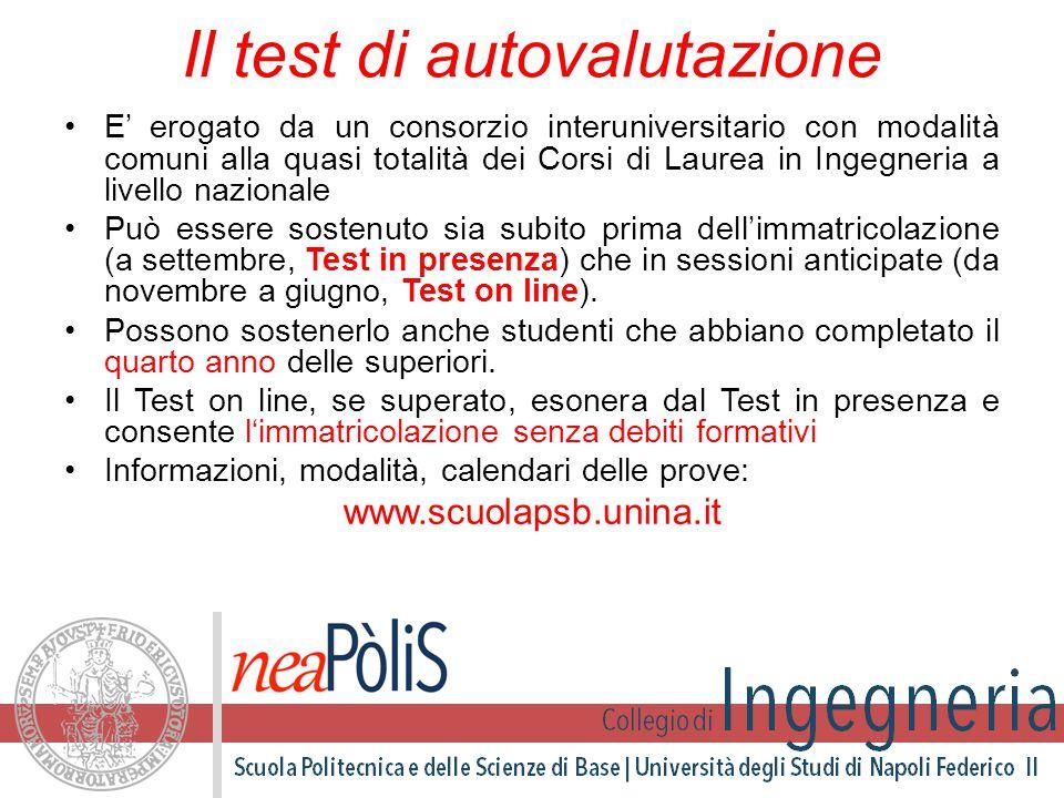 Il test di autovalutazione E' erogato da un consorzio interuniversitario con modalità comuni alla quasi totalità dei Corsi di Laurea in Ingegneria a l