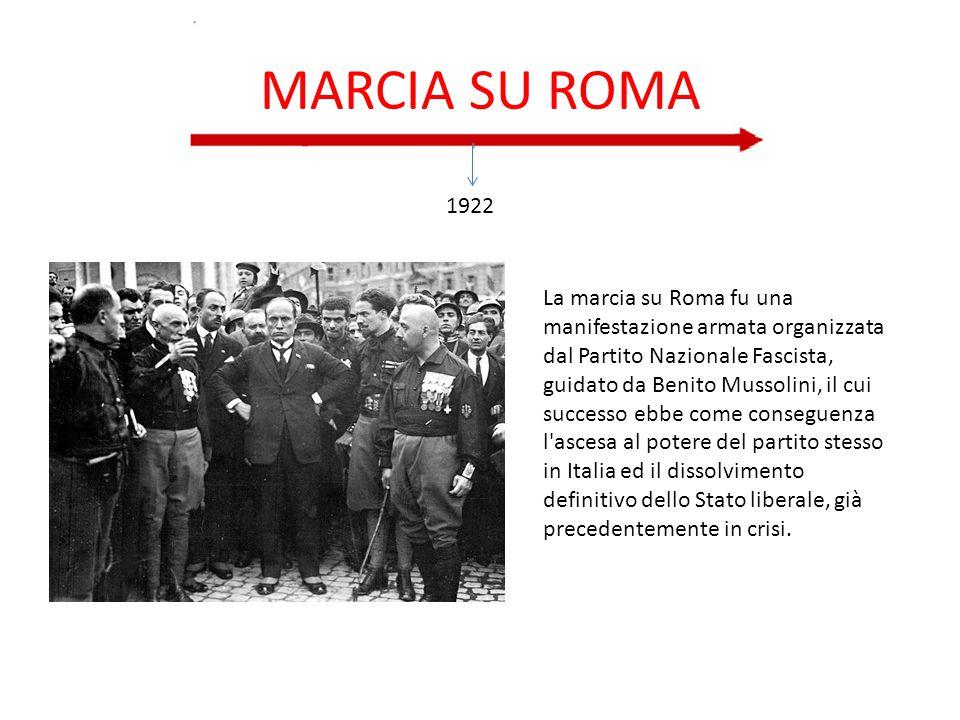 MARCIA SU ROMA 1922 La marcia su Roma fu una manifestazione armata organizzata dal Partito Nazionale Fascista, guidato da Benito Mussolini, il cui suc