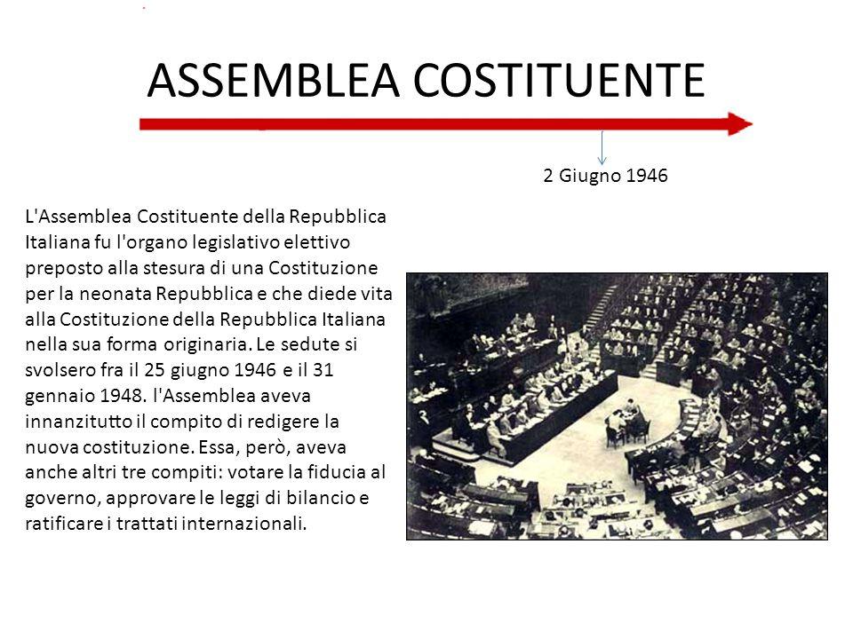 ASSEMBLEA COSTITUENTE 2 Giugno 1946 L'Assemblea Costituente della Repubblica Italiana fu l'organo legislativo elettivo preposto alla stesura di una Co