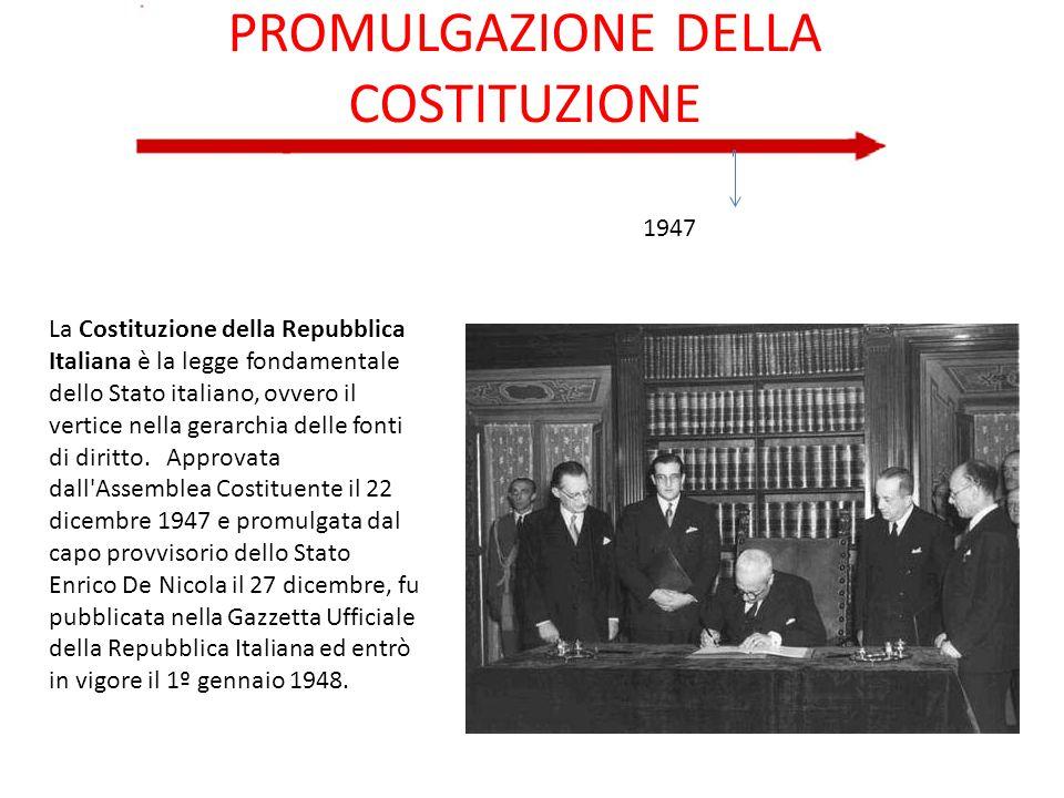 PROMULGAZIONE DELLA COSTITUZIONE 1947 La Costituzione della Repubblica Italiana è la legge fondamentale dello Stato italiano, ovvero il vertice nella