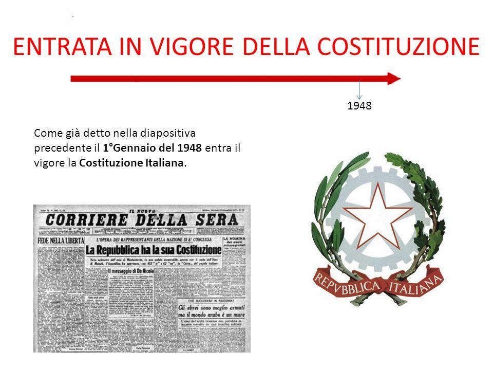 ENTRATA IN VIGORE DELLA COSTITUZIONE 1948 Come già detto nella diapositiva precedente il 1°Gennaio del 1948 entra il vigore la Costituzione Italiana.
