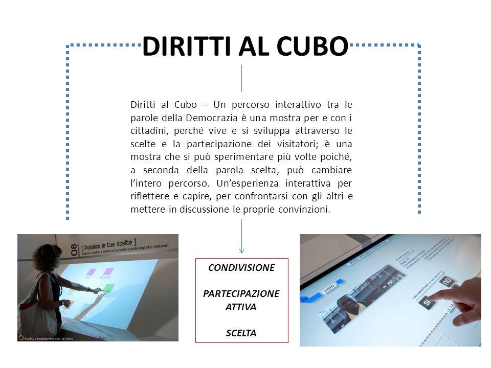 DIRITTI AL CUBO Diritti al Cubo – Un percorso interattivo tra le parole della Democrazia è una mostra per e con i cittadini, perché vive e si sviluppa
