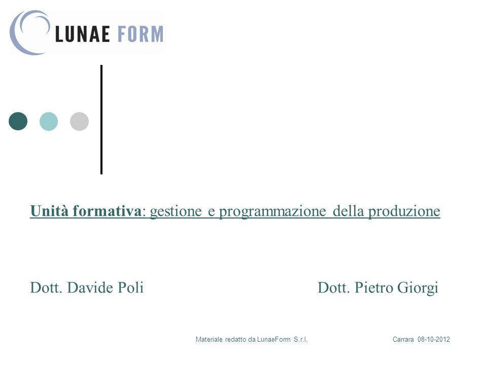 Materiale redatto da LunaeForm S.r.l.Carrara 08-10-2012 Unità formativa: gestione e programmazione della produzione Dott.