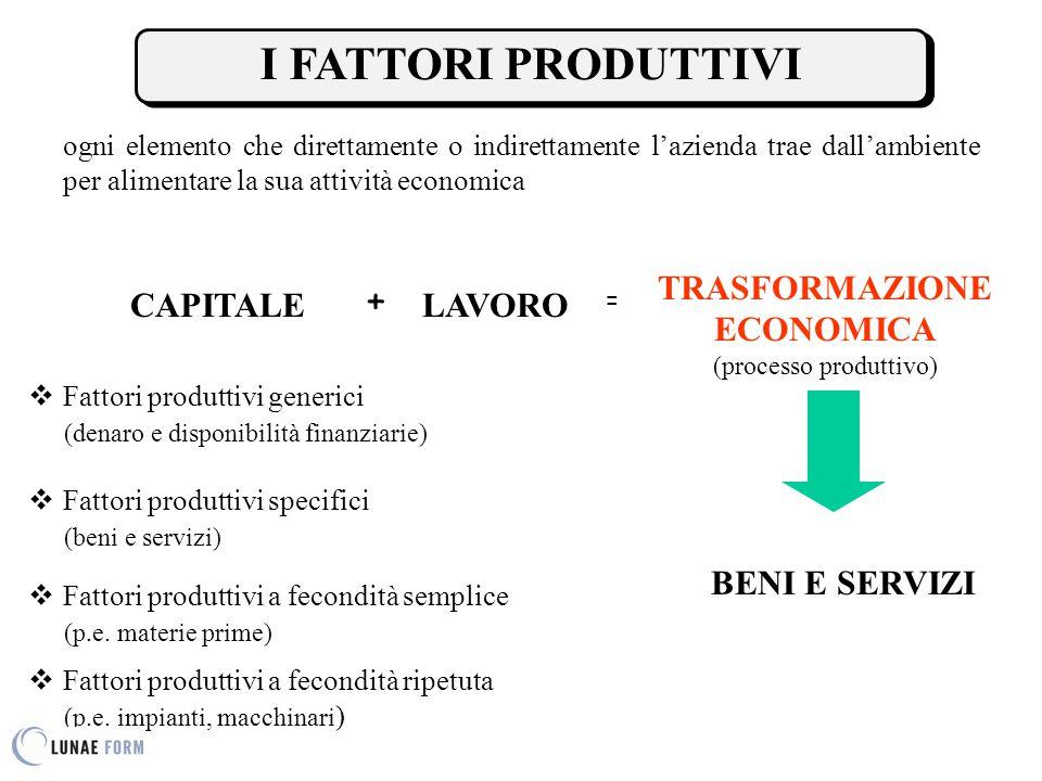 ogni elemento che direttamente o indirettamente l'azienda trae dall'ambiente per alimentare la sua attività economica CAPITALELAVORO  Fattori produttivi a fecondità ripetuta (p.e.