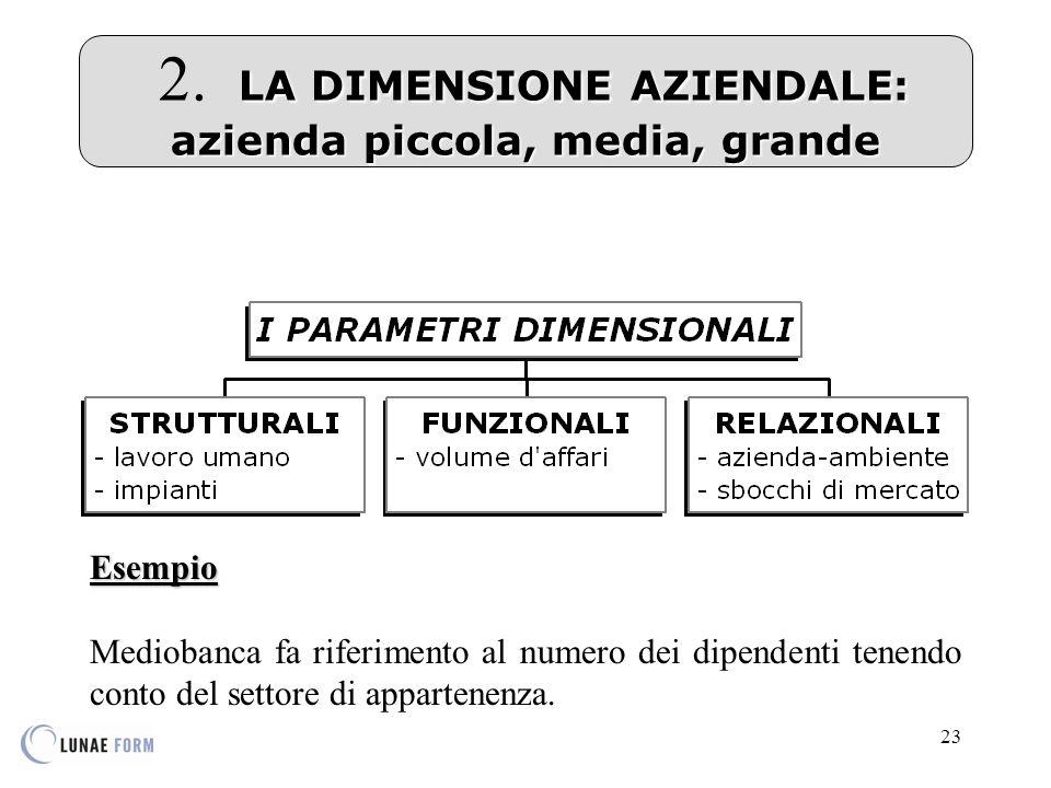 23 LA DIMENSIONE AZIENDALE: azienda piccola, media, grande 2.