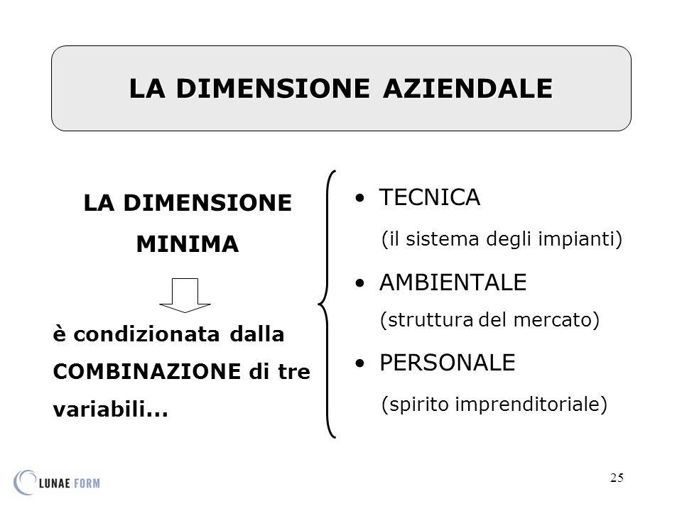 25 LA DIMENSIONE AZIENDALE LA DIMENSIONE MINIMA è condizionata dalla COMBINAZIONE di tre variabili...