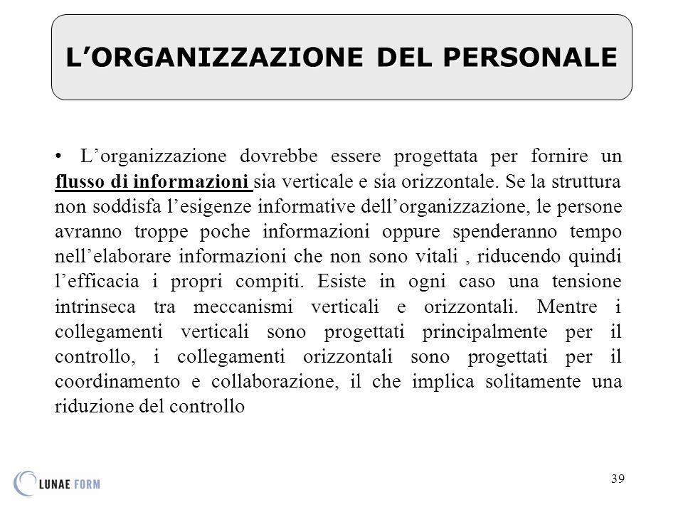 39 L'ORGANIZZAZIONE DEL PERSONALE L'organizzazione dovrebbe essere progettata per fornire un flusso di informazioni sia verticale e sia orizzontale.