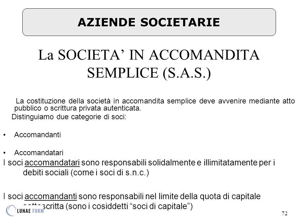 72 AZIENDE SOCIETARIE La SOCIETA' IN ACCOMANDITA SEMPLICE (S.A.S.) La costituzione della società in accomandita semplice deve avvenire mediante atto pubblico o scrittura privata autenticata.