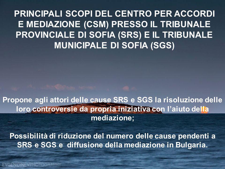 Propone agli attori delle cause SRS e SGS la risoluzione delle loro controversie da propria iniziativa con l'aiuto della mediazione; Possibilità di riduzione del numero delle cause pendenti a SRS e SGS e diffusione della mediazione in Bulgaria.