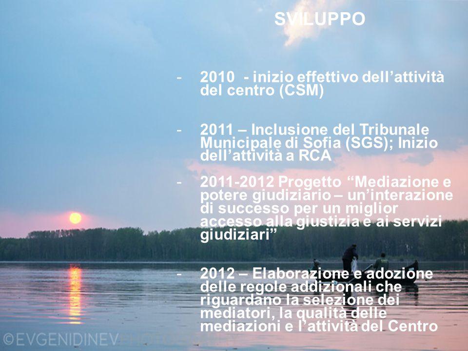 SVILUPPO -2010 - inizio effettivo dell'attività del centro (CSM) -2011 – Inclusione del Tribunale Municipale di Sofia (SGS); Inizio dell'attività a RC