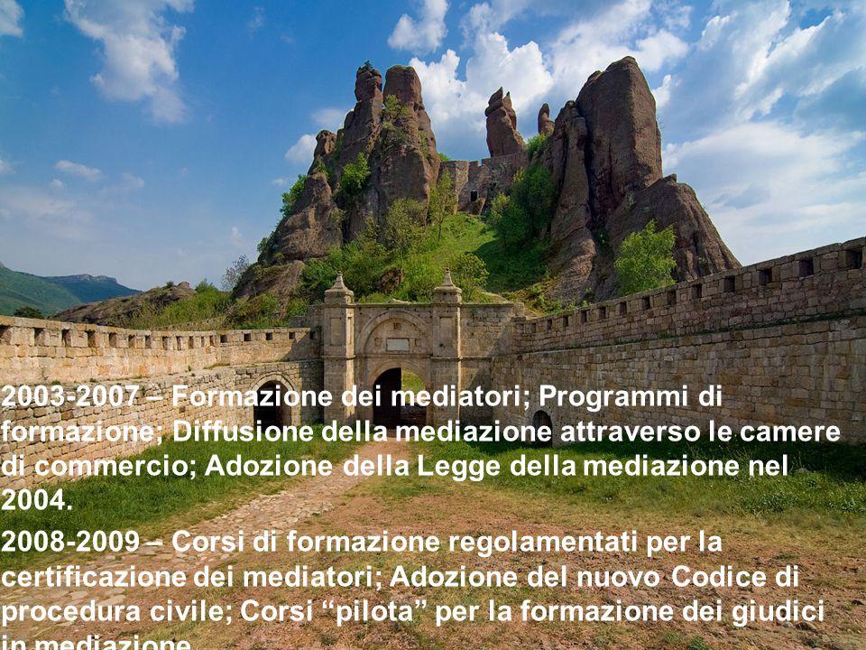 2003-2007 – Formazione dei mediatori; Programmi di formazione; Diffusione della mediazione attraverso le camere di commercio; Adozione della Legge della mediazione nel 2004.