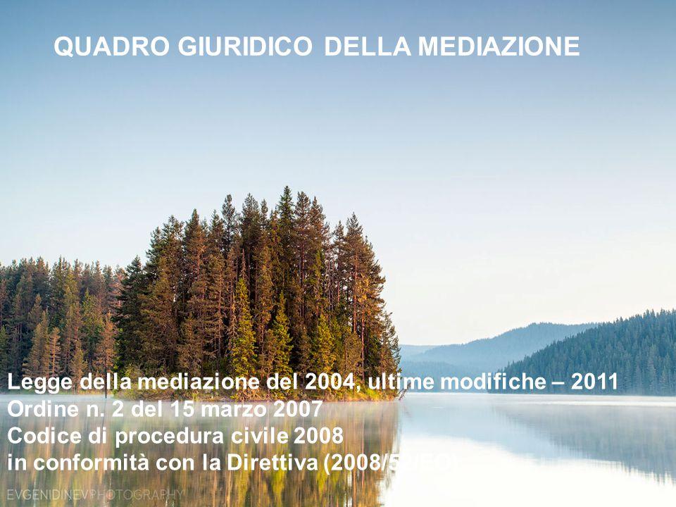 QUADRO GIURIDICO DELLA MEDIAZIONE Legge della mediazione del 2004, ultime modifiche – 2011 Ordine n. 2 del 15 marzo 2007 Codice di procedura civile 20