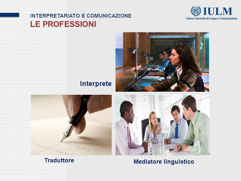 INTERPRETARIATO E COMUNICAZIONE LE PROFESSIONI Interprete Traduttore Mediatore linguistico