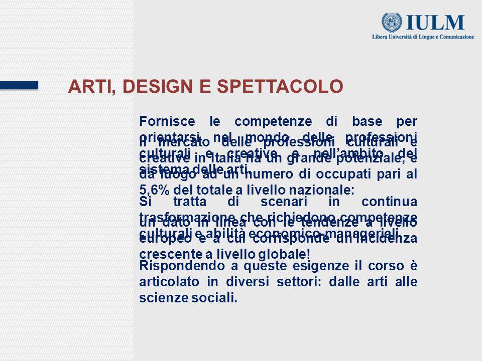 ARTI, DESIGN E SPETTACOLO Fornisce le competenze di base per orientarsi nel mondo delle professioni culturali e creative e nell'ambito del sistema delle arti.