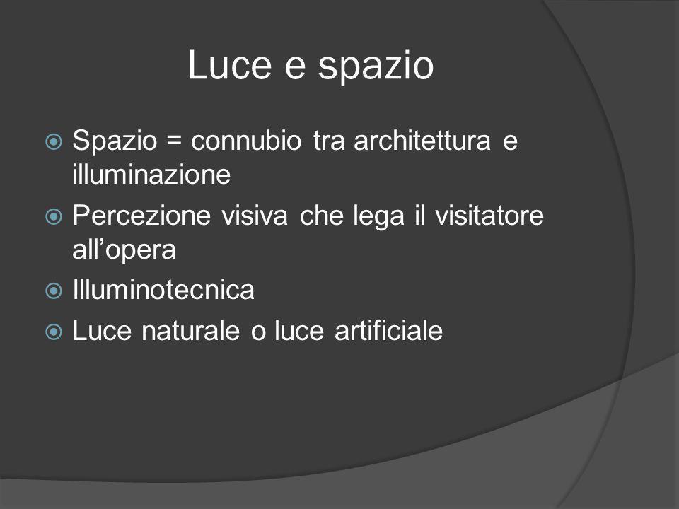 Luce e spazio  Spazio = connubio tra architettura e illuminazione  Percezione visiva che lega il visitatore all'opera  Illuminotecnica  Luce natur