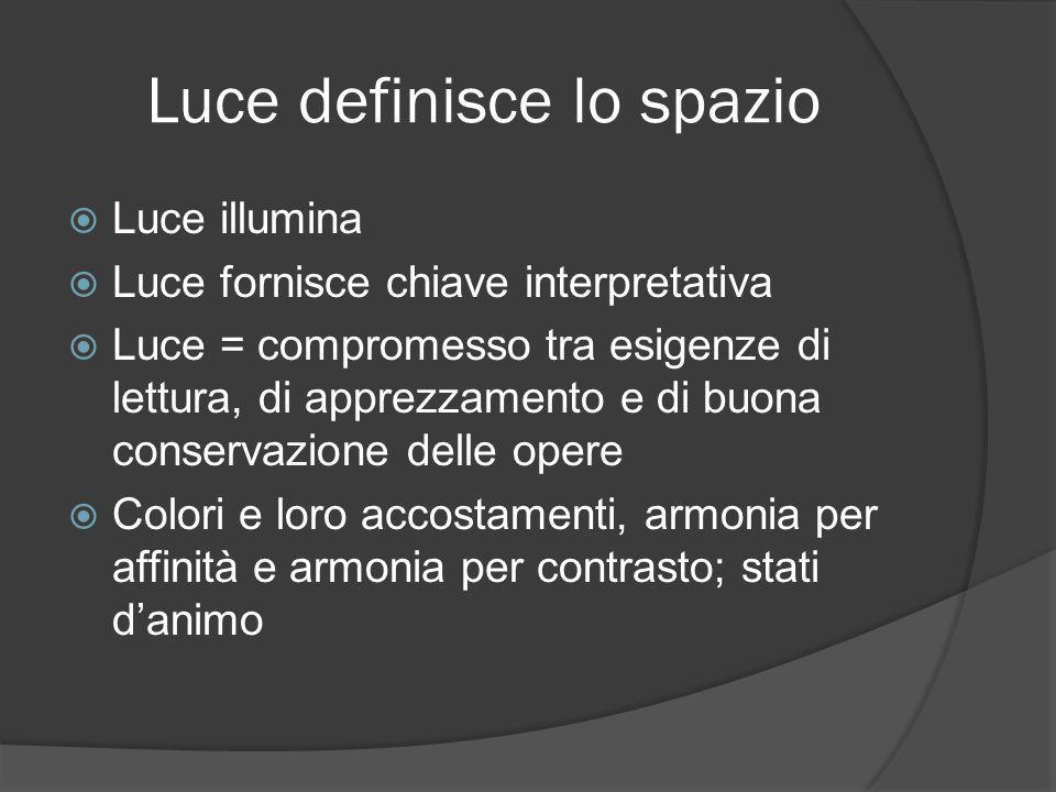 Luce definisce lo spazio  Luce illumina  Luce fornisce chiave interpretativa  Luce = compromesso tra esigenze di lettura, di apprezzamento e di buo