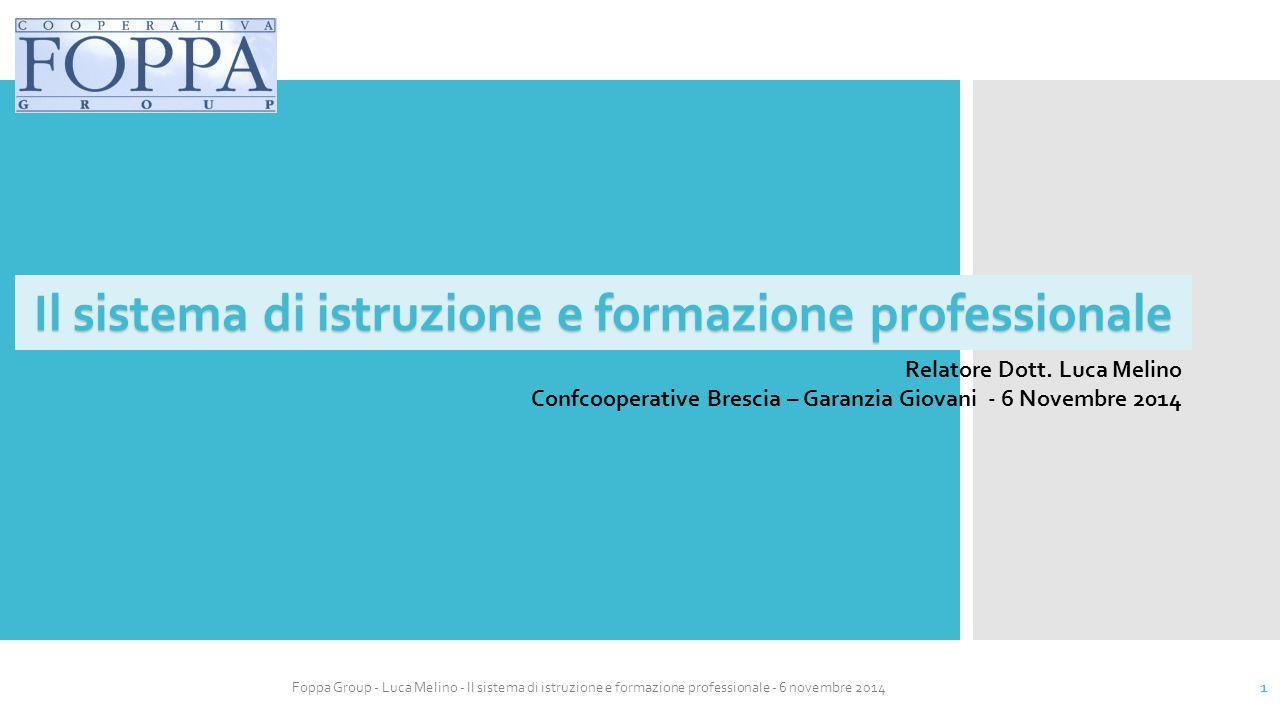 Foppa Group - Luca Melino - Il sistema di istruzione e formazione professionale - 6 novembre 2014 2 Il sistema educativo e formativo
