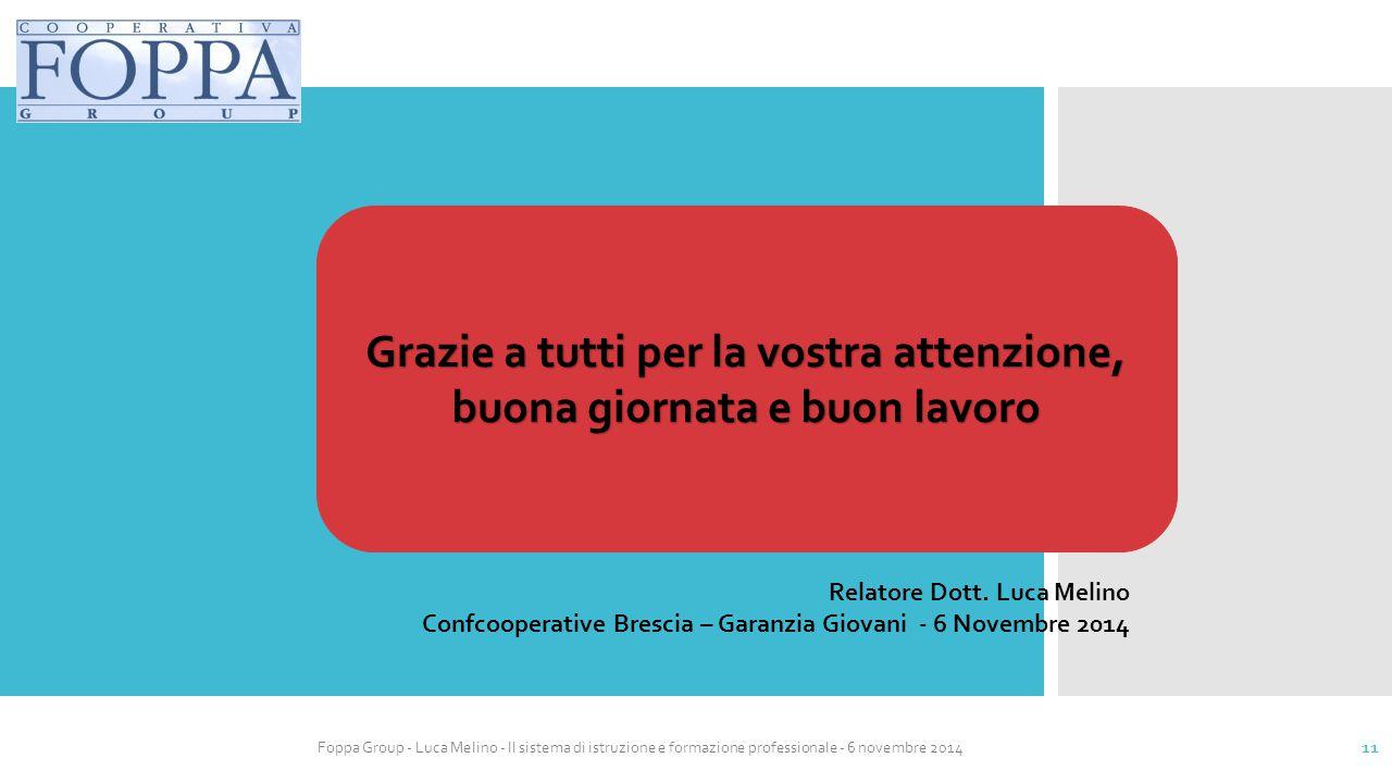 Foppa Group - Luca Melino - Il sistema di istruzione e formazione professionale - 6 novembre 2014 11 Relatore Dott. Luca Melino Confcooperative Bresci