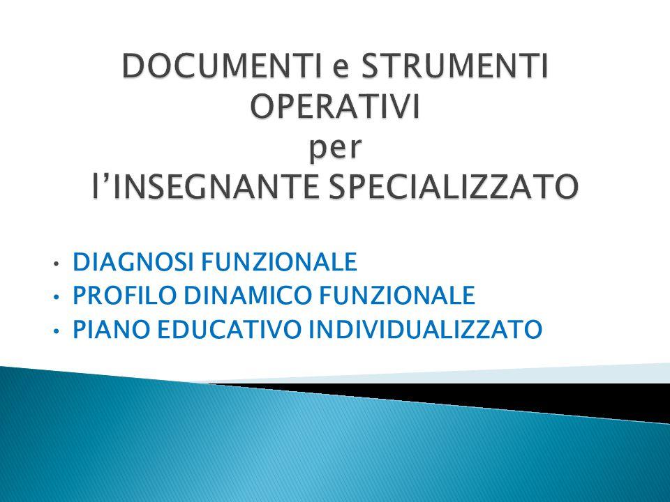 DIAGNOSI FUNZIONALE PROFILO DINAMICO FUNZIONALE PIANO EDUCATIVO INDIVIDUALIZZATO