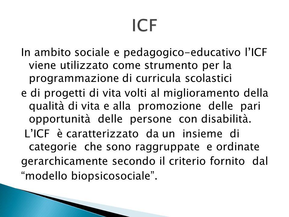 In ambito sociale e pedagogico-educativo l'ICF viene utilizzato come strumento per la programmazione di curricula scolastici e di progetti di vita vol