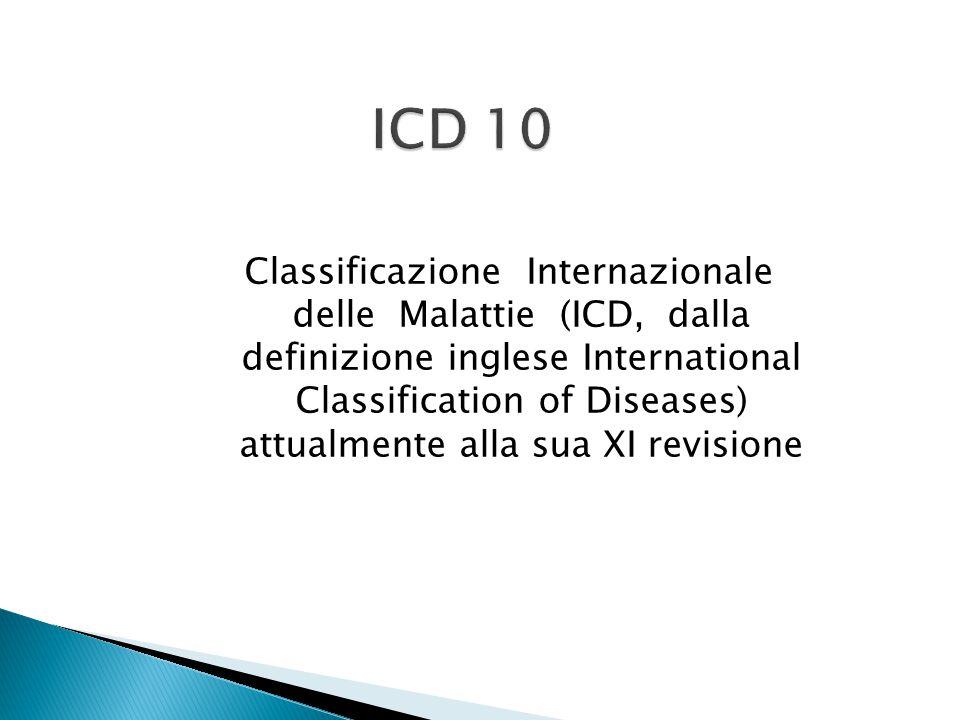 Classificazione Internazionale delle Malattie (ICD, dalla definizione inglese International Classification of Diseases) attualmente alla sua XI revisi